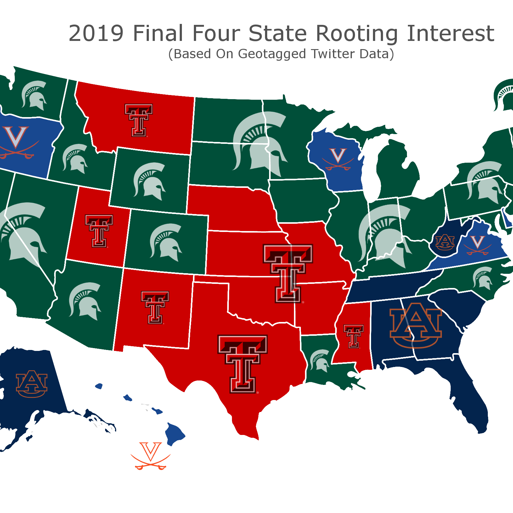 Most of America is rooting for Michigan State in Final Four, data says