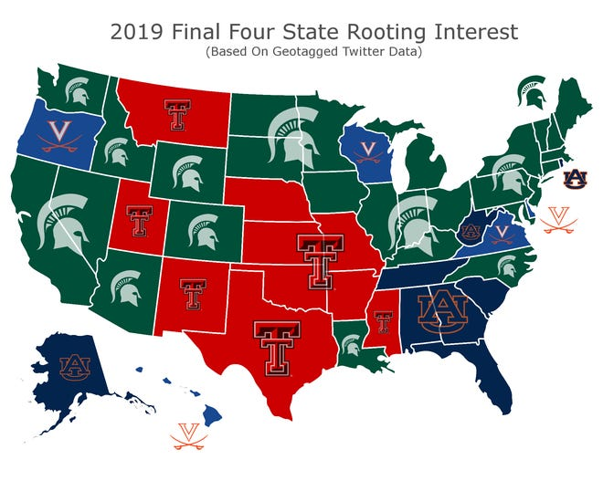 Michigan State has the support of 27 of America's 50 states, according to Twitter data from betonline.ag, in this year's Final Four.
