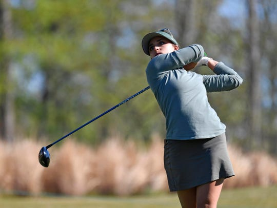 Allyson Geer-Park, originally from Brighton, hits her tee shot on No. 13 during the second round of the Augusta National Women's Amateur at the Champions Retreat.