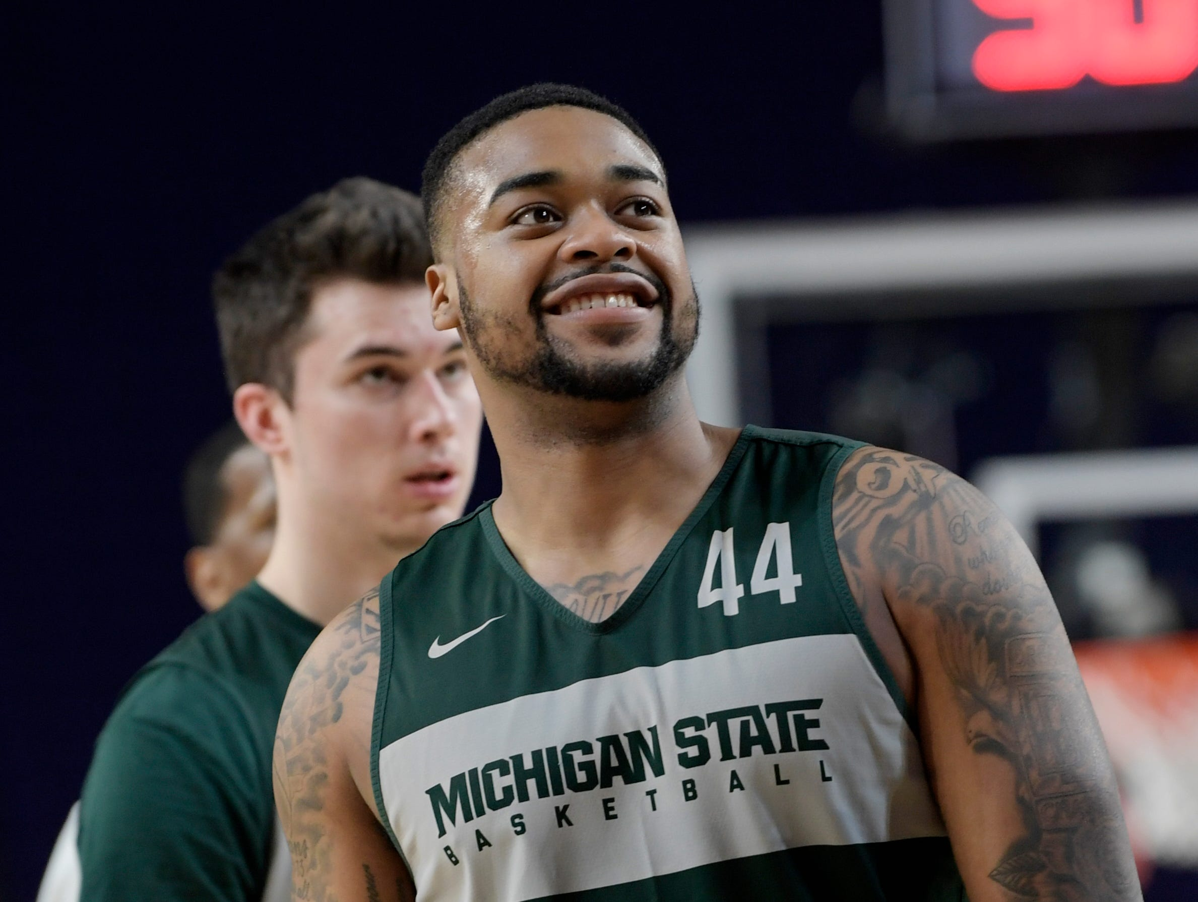 Michigan State Nick Ward (44) participates in a drill during an open practice at U.S. Bank Stadium during the Final Four in Minneapolis, Minnesota on Friday, April 5, 2019.