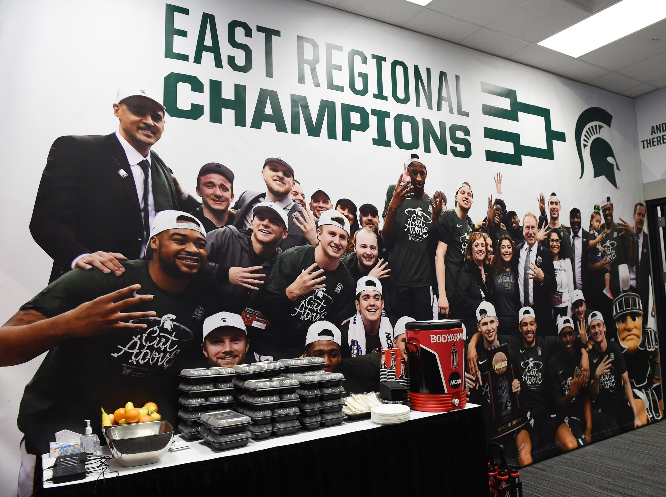 A large mural hangs in the Michigan State locker room at U.S. Bank Stadium for the Final Four in Minneapolis, Minnesota on Friday, April 5, 2019.