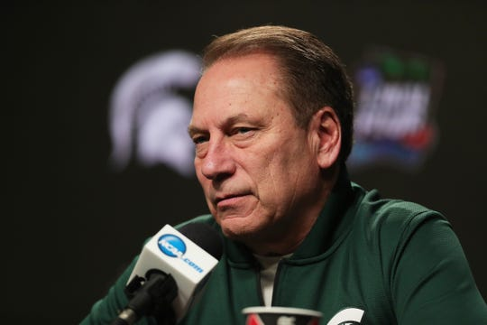 Michigan State head coach Tom Izzo talks with reporters before practice for their NCAA Semifinal game against Texas Tech Friday, April 5, 2019 at U.S. Bank Stadium in Minneapolis, Minn.