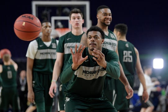 Michigan State forward Xavier Tillman (23) participates in a drill during an open practice at U.S. Bank Stadium during the Final Four in Minneapolis, Minnesota on Friday, April 5, 2019.