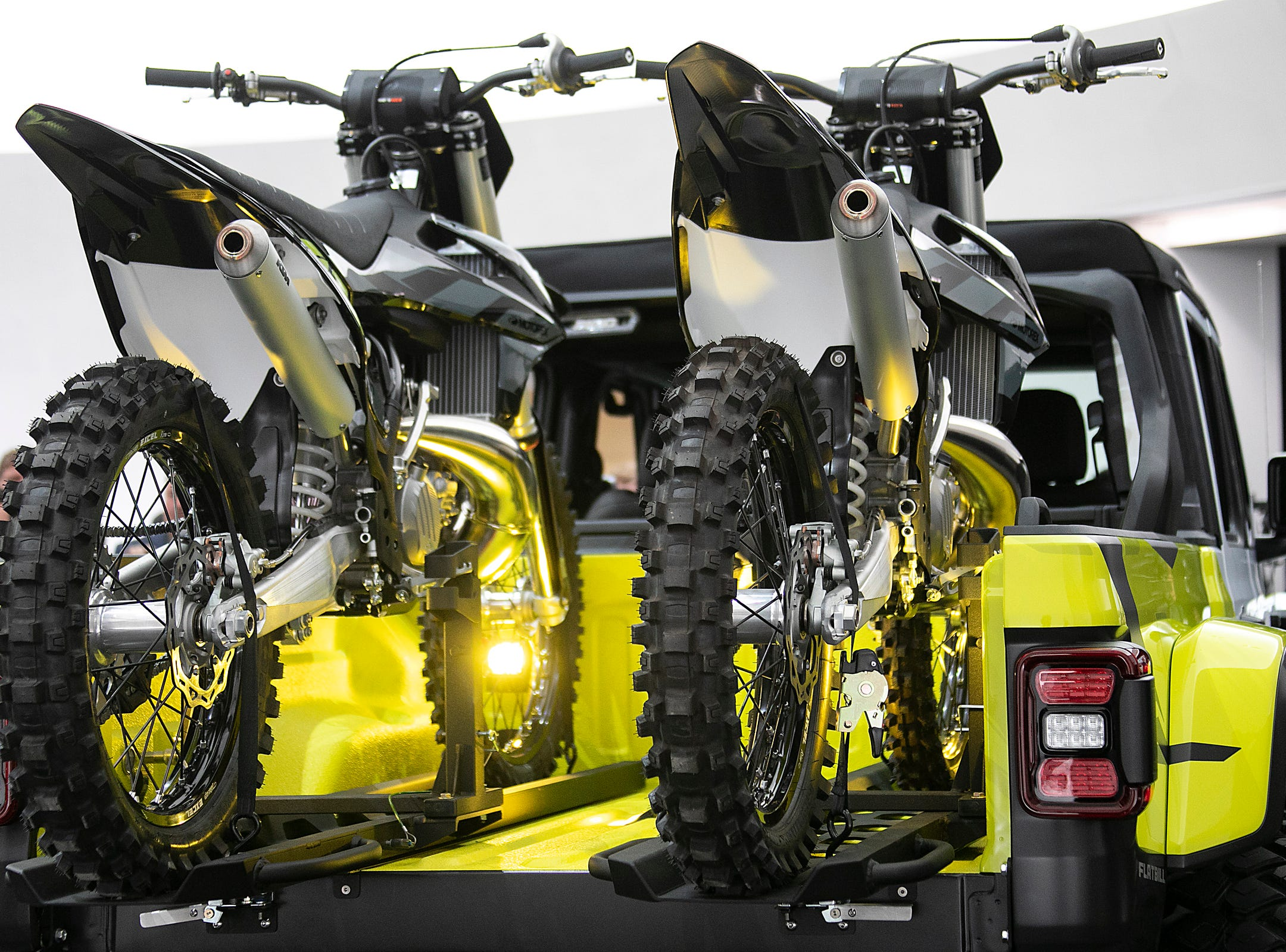 Jeep and Mopar brands debut six concept vehicles including the Jeep Flatbill Friday, April 5, 2019 at the Fiat Chrysler Tech Center and headquarters for the 53rd annual Moab Easter Jeep Safari. The Jeep Flatbill is a truck dedicated to dirt bike riding it is powered by a 3.6-liter  Pentastar V-6 engine with a cold-air Mopar Intake and mated to an eight-speed automatic transmission.