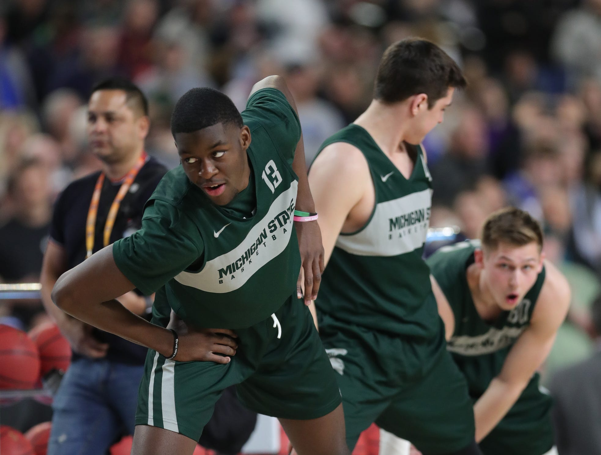 Michigan State forward Gabe Brown goes through drill during practice for their NCAA Semifinal game against Texas Tech Friday, April 5, 2019 at  US Bank Stadium in Minneapolis, Minn.