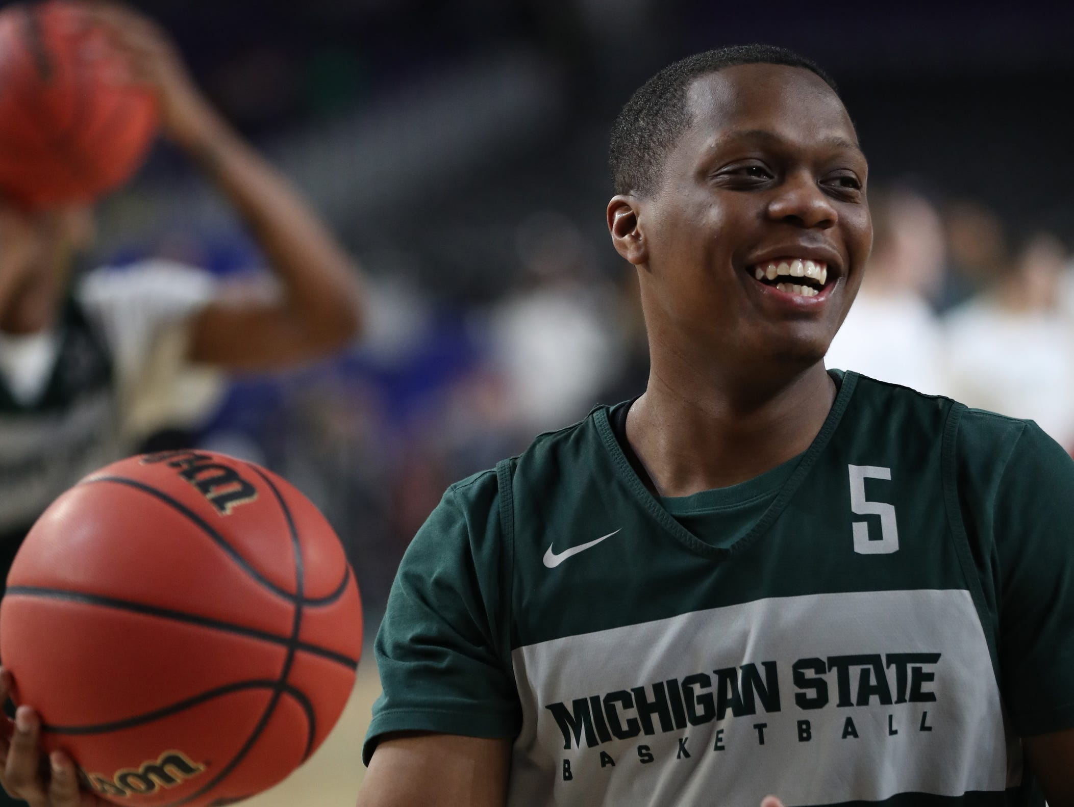 Michigan State's guard Cassius Winston goes through drills during practice for their NCAA semifinal game against Texas Tech Friday, April 5, 2019 at U.S. Bank Stadium in Minneapolis, Minn.