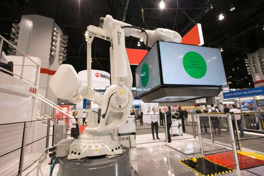 A scene from the show floor of the 2017 version of Automate, the robotics show held by the Association for Advancing Automation. The show, long held in Chicago, moves to Detroit in 2021.