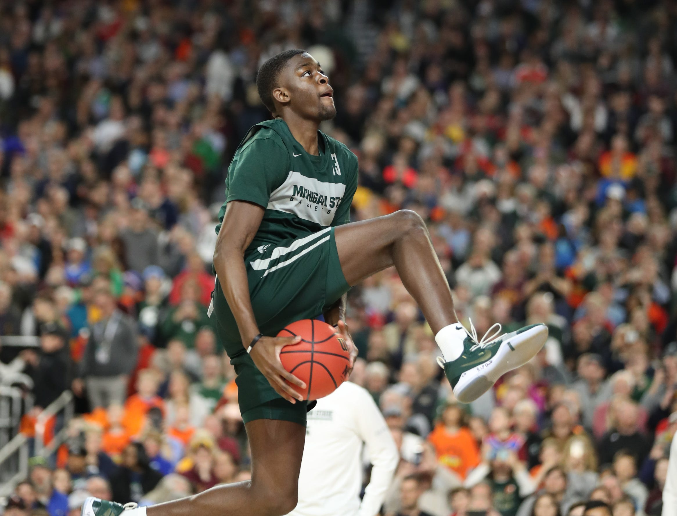 Michigan State forward Gabe Brown goes through drill during practice for their NCAA semifinal game against Texas Tech Friday, April 5, 2019 at U.S. Bank Stadium in Minneapolis, Minn.