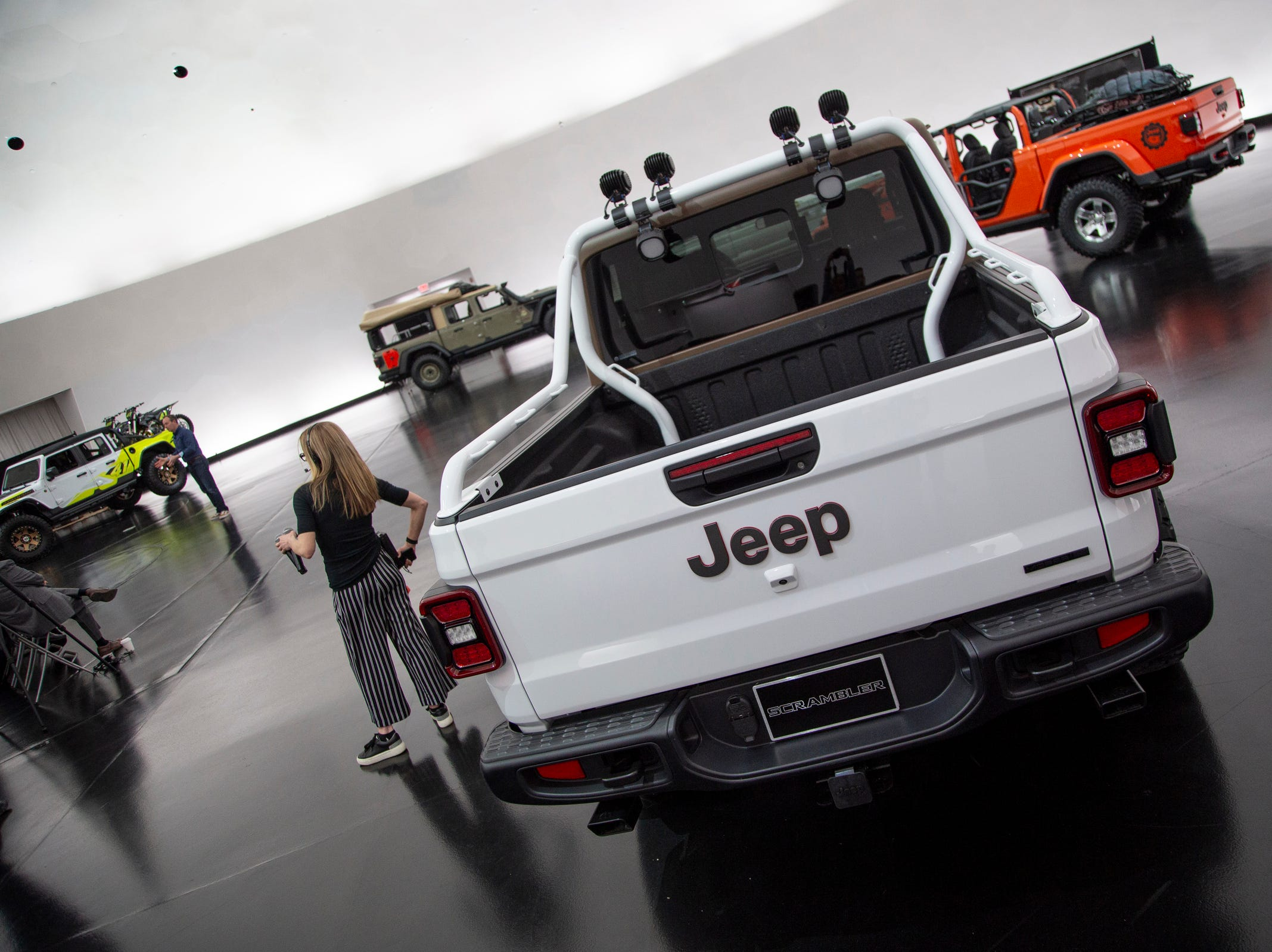 Jeep and Mopar brands debut six concept vehicles including the Jeep JT Scrambler Friday, April 5, 2019 at the Fiat Chrysler Tech Center and headquarters for the 53rd annual Moab Easter Jeep Safari. The Jeep Scrambler bed area is customized with spray-in bed liner.