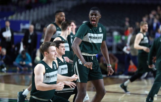 Michigan State forward Gabe Brown fires up teammates during practice for their NCAA Semifinal game against Texas Tech Friday, April 5, 2019 at U.S. Bank Stadium in Minneapolis, Minn.