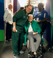 Michigan State head coach Tom Izzo with his mom Dorothy Izzo before practice for their NCAA semifinal game against Texas Tech Friday, April 5, 2019 at U.S. Bank Stadium in Minneapolis, Minn.