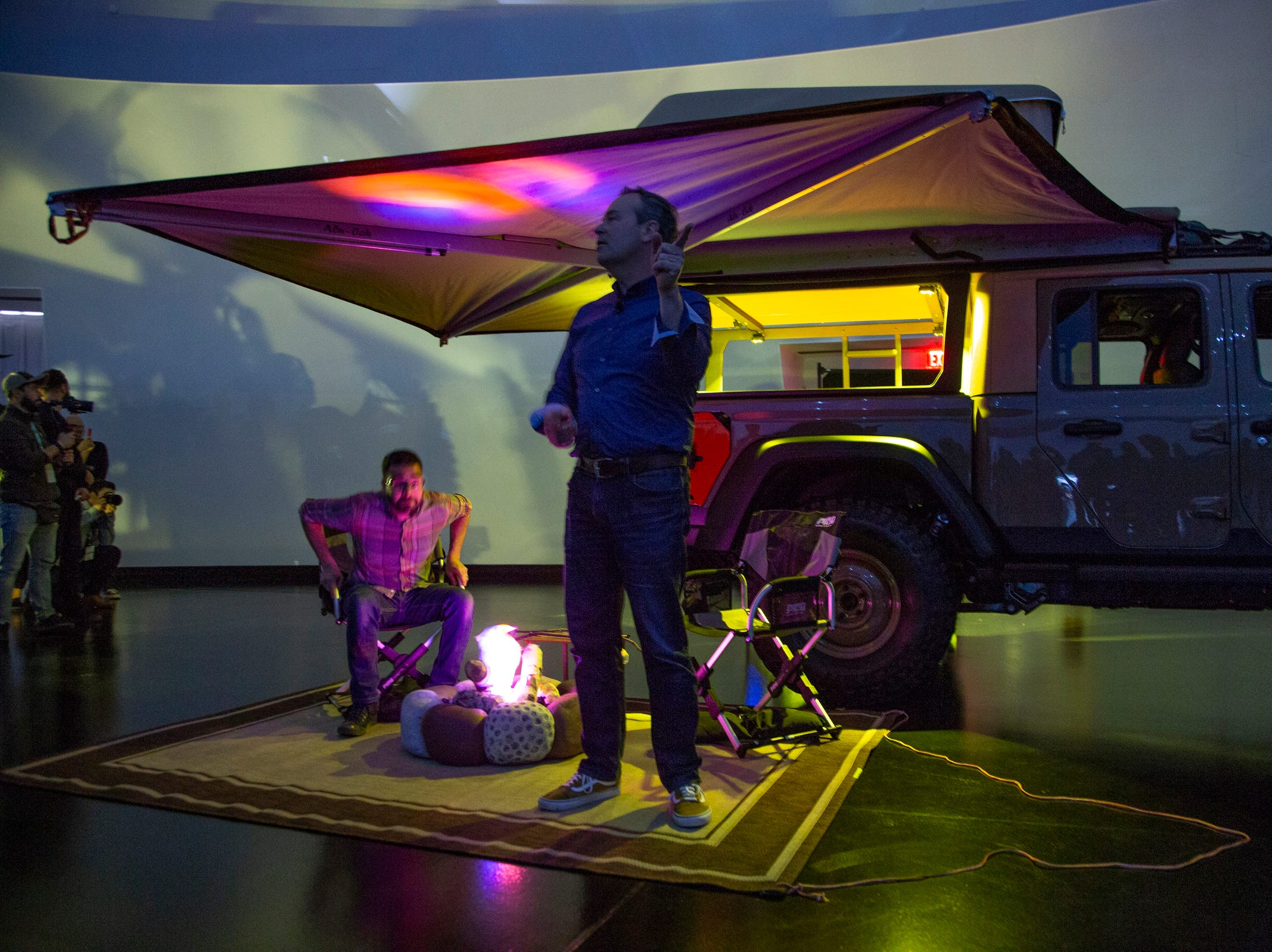 Jeep and Mopar brands debut six concept vehicles including the Jeep Wayout with the help of Mark Allen, head of Jeep design Friday, April 5, 2019 at the Fiat Chrysler Tech Center and headquarters for the 53rd annual Moab Easter Jeep Safari. The Jeep Wayout showcases a full roof-top tent and custom, large sprawling canopy. The Wayout's body armored exterior features a new Gator Green color that will be available on all production Gladiator models.