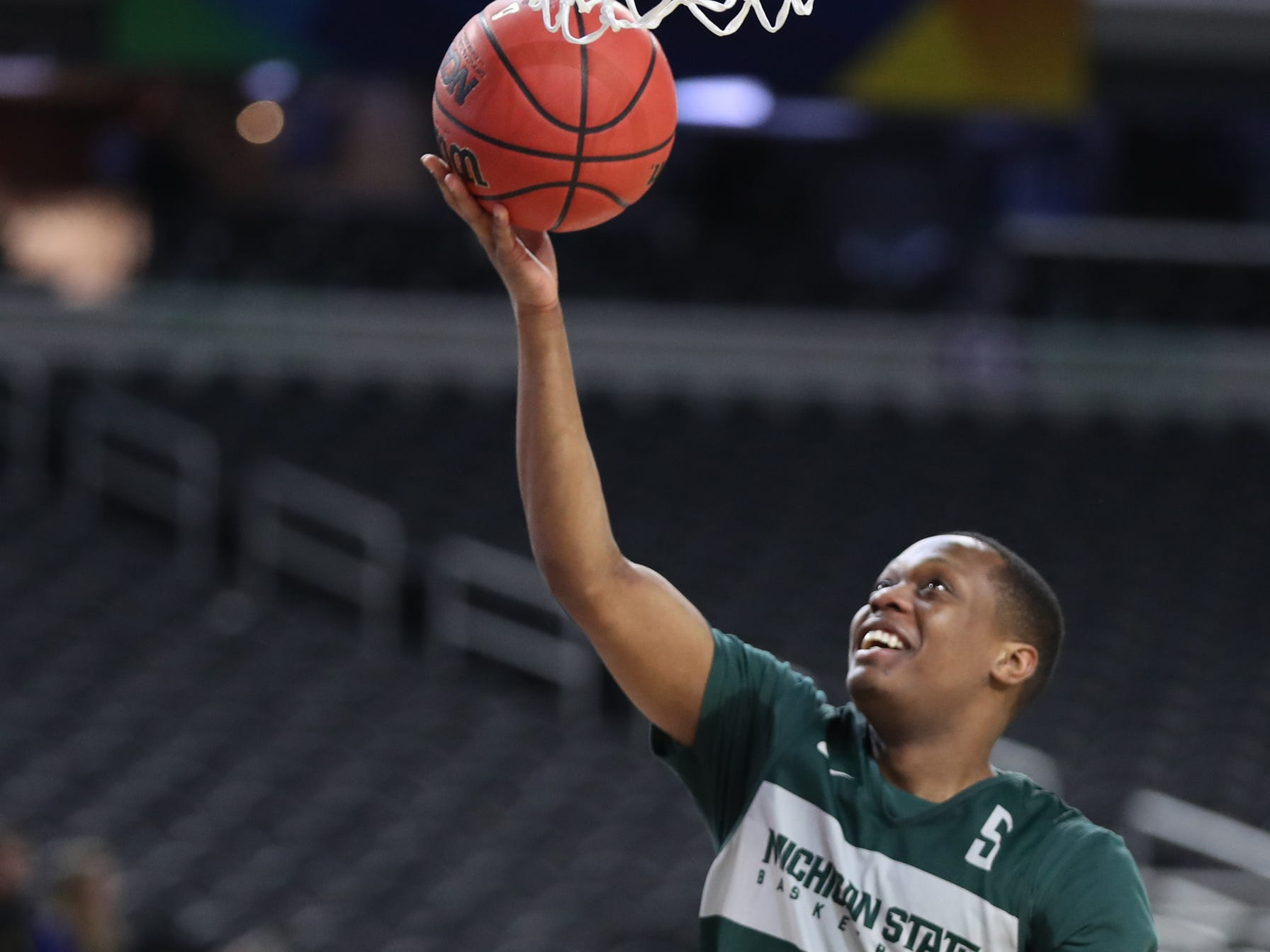 Michigan State guard Cassius Winston goes through drills during practice for their NCAA Semifinal game against Texas Tech Friday, April 5, 2019 at U.S. Bank Stadium in Minneapolis, Minn.