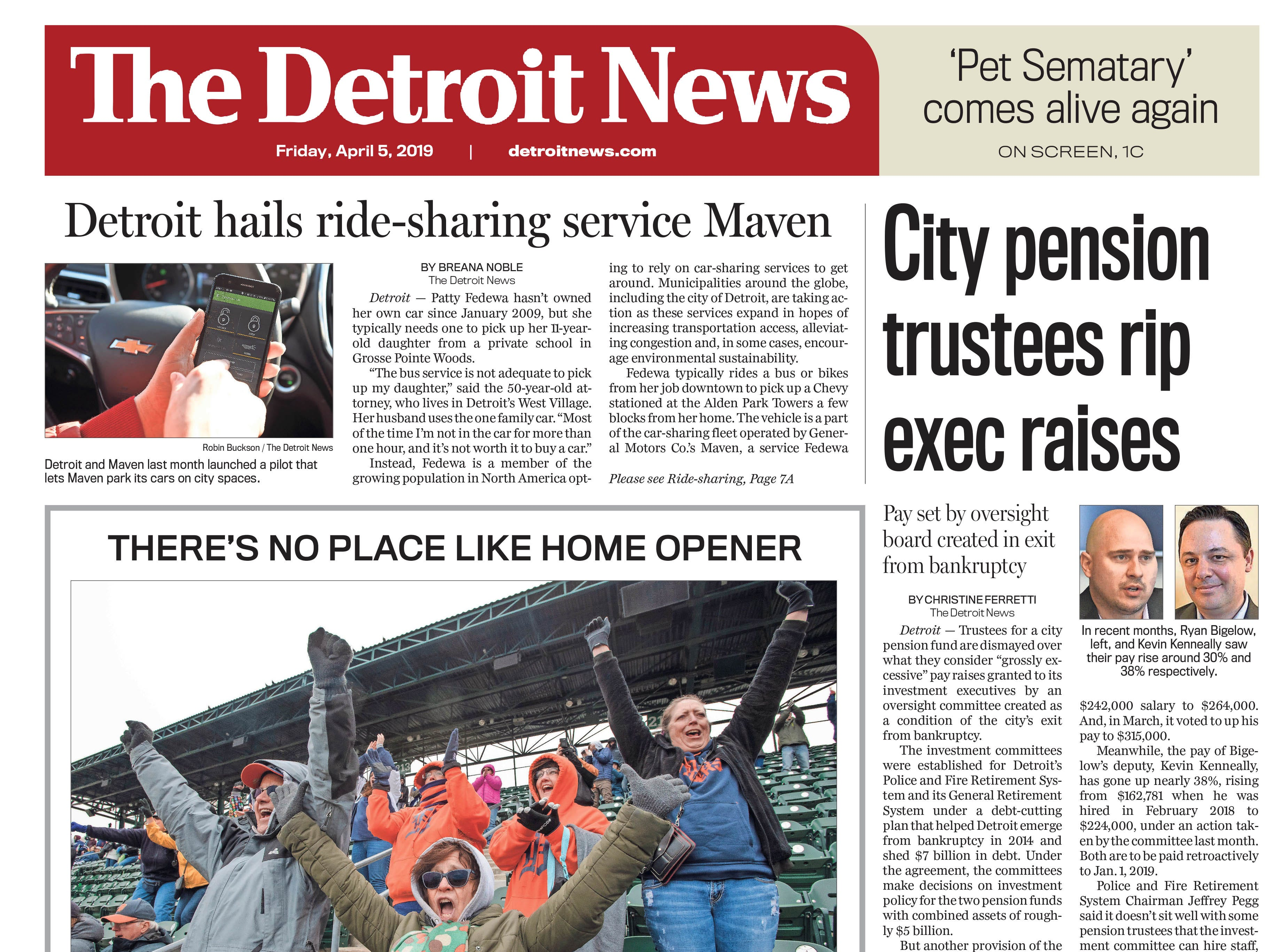 The front page of the Detroit News on Friday, April 5, 2019.
