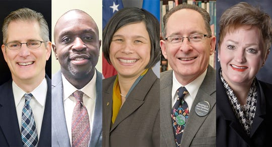 The State Board of Education is one step closer to hiring Michigan's next superintendent of public instruction, having narrowed the list down to five semifinalists; Randy Liepa, from left, Eric Thomas, Brenda Cassellius, Michael Rice, and Jeanice Swift.
