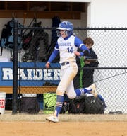 Maiah Skakal rounds third after hitting the first of her two homers against Owego on April 4, 2019 at Horseheads Middle School.