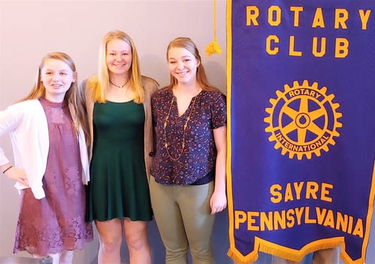 This year's Sayre Rotary essay contest winners are, from left, Heidi Elston, Emily Sutryk and Annabelle Ennis.