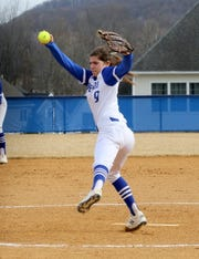 Maddie Rogers delivers a pitch for Horseheads against Owego on April 4, 2019 at Horseheads Middle School. Rogers struck out 11 on Wednesday in Horseheads' win in Myrtle Beach.