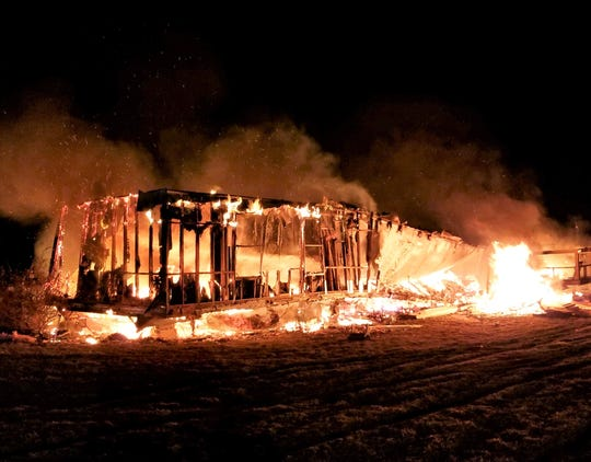 This mobile home in the Town of Bath was consumed by flames early Friday.