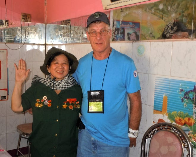Fond du Lac resident Anthony Mielke was one of 53 veterans who traveled to Vietnam in February on an Old Glory Honor Flight. Among his tours guides in Vietnam was a woman (pictured, name unknown) who was the second most decorated officer in the Vietcong Army. The vets visited her restaurant in the town of Tay Ninh.