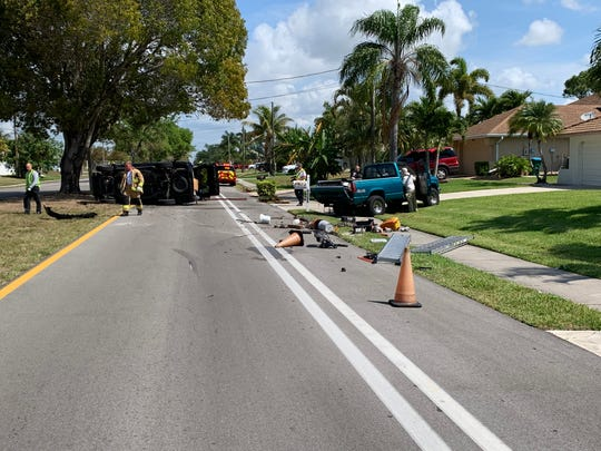 Cape Coral police were  clearing a two-car crash in the 4500-block of Pelican Blvd.  this morning.