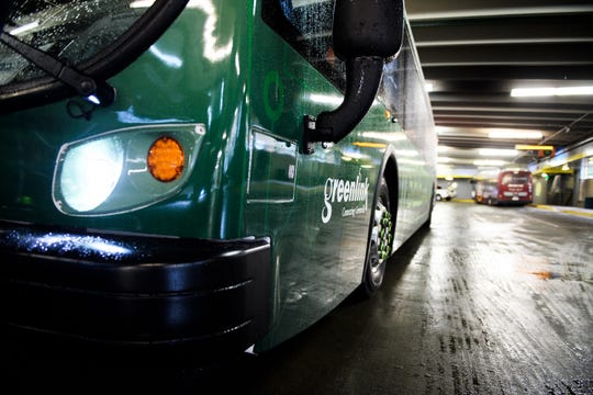 A Proterra electric bus is parked during a press conference for the introduction of the company's buses at the Greenville Transit Authority Transit Center Friday, April 5, 2019.