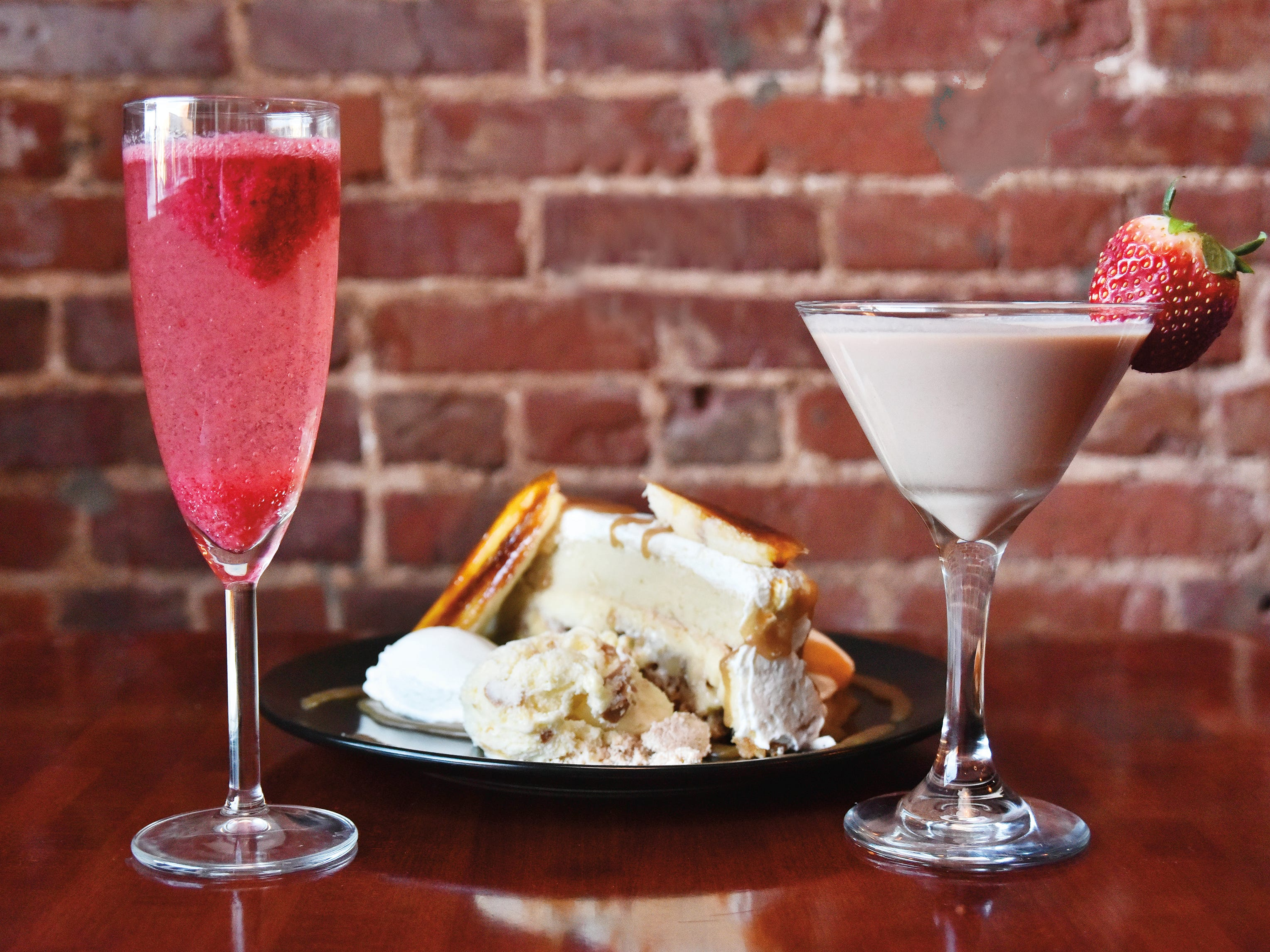 The Sorbagne, left, a champange flute of bubbles with a scoop of housemade sorbet, and The Encore, right, with housemade Nutella vodka and hazlenut liqueur served with the Bananarama dessert.