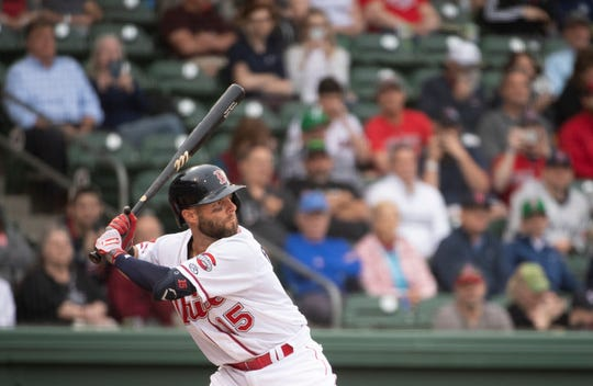 Dustin Pedroia (15) bats for Greenville Drive during their season home opener against West Virginia Power at Flour Field Thursday, April 4, 2019.