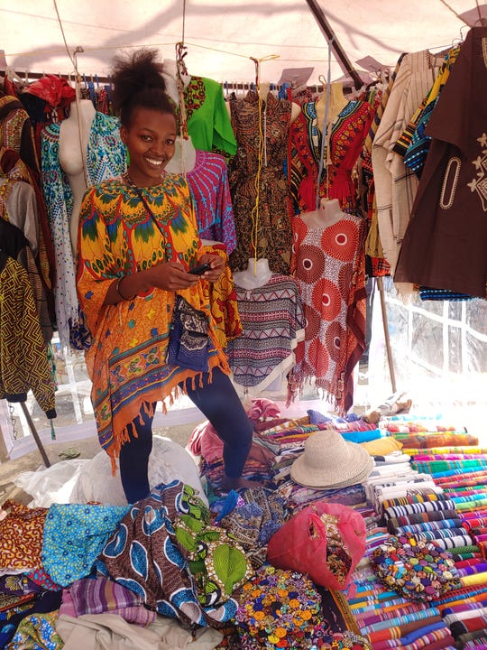 Halverson bought crafts in the Masai Market in Nairobi Kenya. She will be selling the items in at the Great Falls Fair Trade Market.