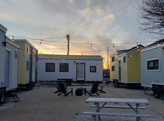 The five homes at the new Indianapolis Try it Tiny Hotel measure just under 200 square feet and start at $75 per night.