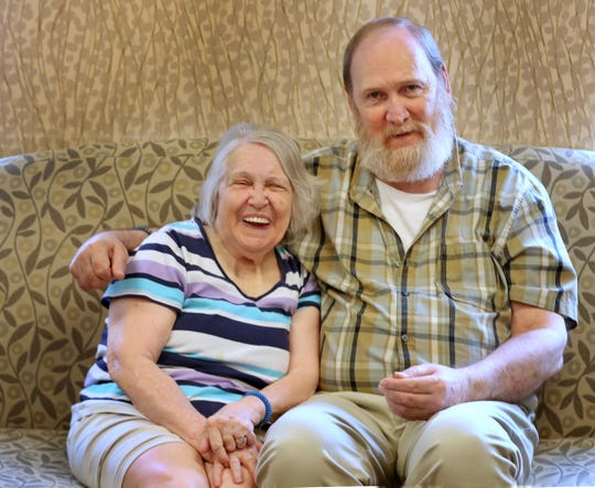 Betty Howell and Dan Fitzpatrick share a laugh while talking about their relationship.