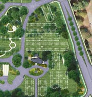 The rendering shows how cars can park on the lawn by the Newfield home. The white lines are for the illustration only. Newfields will use about 200 of the possible spaces.