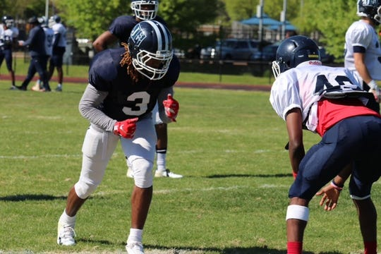 Jackson State wide receiver D.D. Bowie (3) lines up for a drill during spring practice on Tuesday, April 2, 2019.
