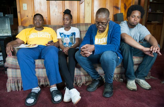 Family and friends of Mario Clark, from left, sister Ciara Elder, girlfriend Shelia Bennett, mother Shelia Ragland and neighbor LeMarcus Ishman, remember Clark and discuss their determination to achieve justice for him. On Feb. 14, 2019, 911 was call for assistance when Clark, who had been diagnosed with paranoid schizophrenia, was having a psychotic episode. The encounter with Jackson Police Department officers ended in Clark's death, which has been ruled a homicide. April 3, 2019