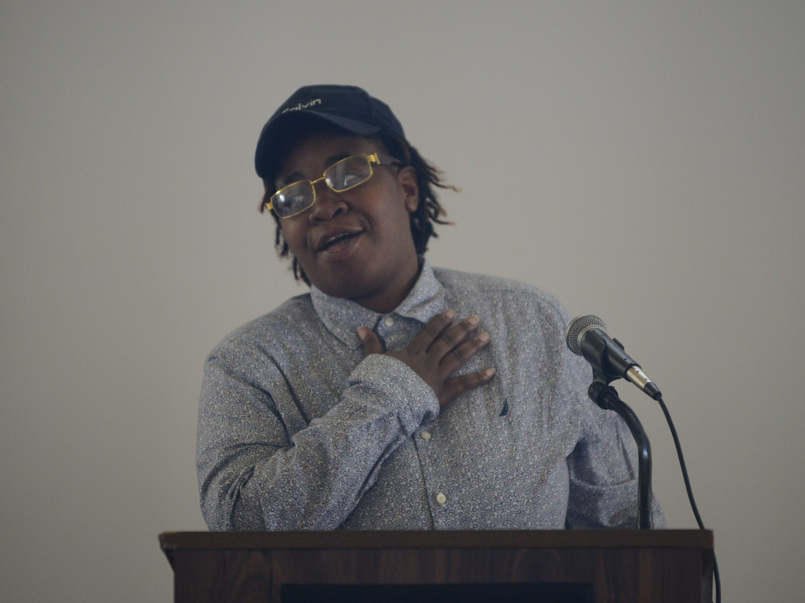 Jackson Recovery Court program participant Ashley Reid speaks to the crowd at the Jackson Recovery Court graduation luncheon at the New Southern Hotel on Wednesday, April 3. Reid is in phase three of the program, and will graduate after completing the final phase.