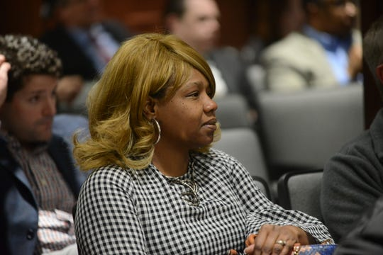 District 2 city council candidate Andrea Givens-Moore listens during the April Jackson City Council meeting on April 5 in Jackson, Tenn.