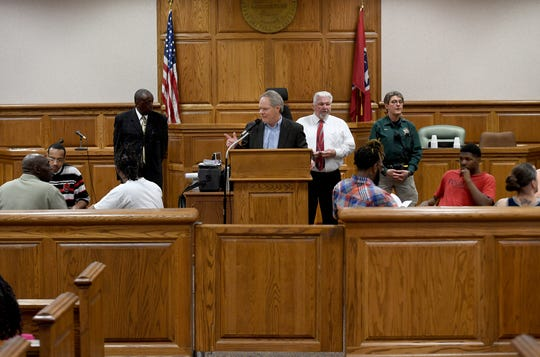 Judge Don Allen welcomes family, guest and friends of 14 Madison County Jail inmates who received certificates from the Life's Healing Choices Program, Friday, April 5. The 8-week program is sponsored by Celebrate Recovery Ministry.