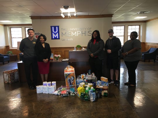 University of Memphis-Lambuth professor Veronica Morrow and the social work program at the college donated supplies and toiletries for men in need to Area Relief Ministries.