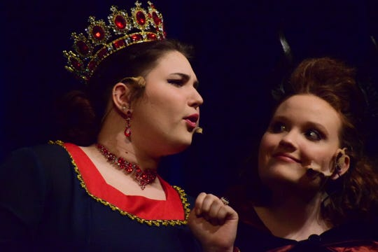 """Queen Aggravain (Sydni Stinnett) and the Enchantress (Emma Greene) come up with an impossible test for Princess Winnifred in Karns High School's musical production of """"Once Upon a Mattress."""" April 2019"""