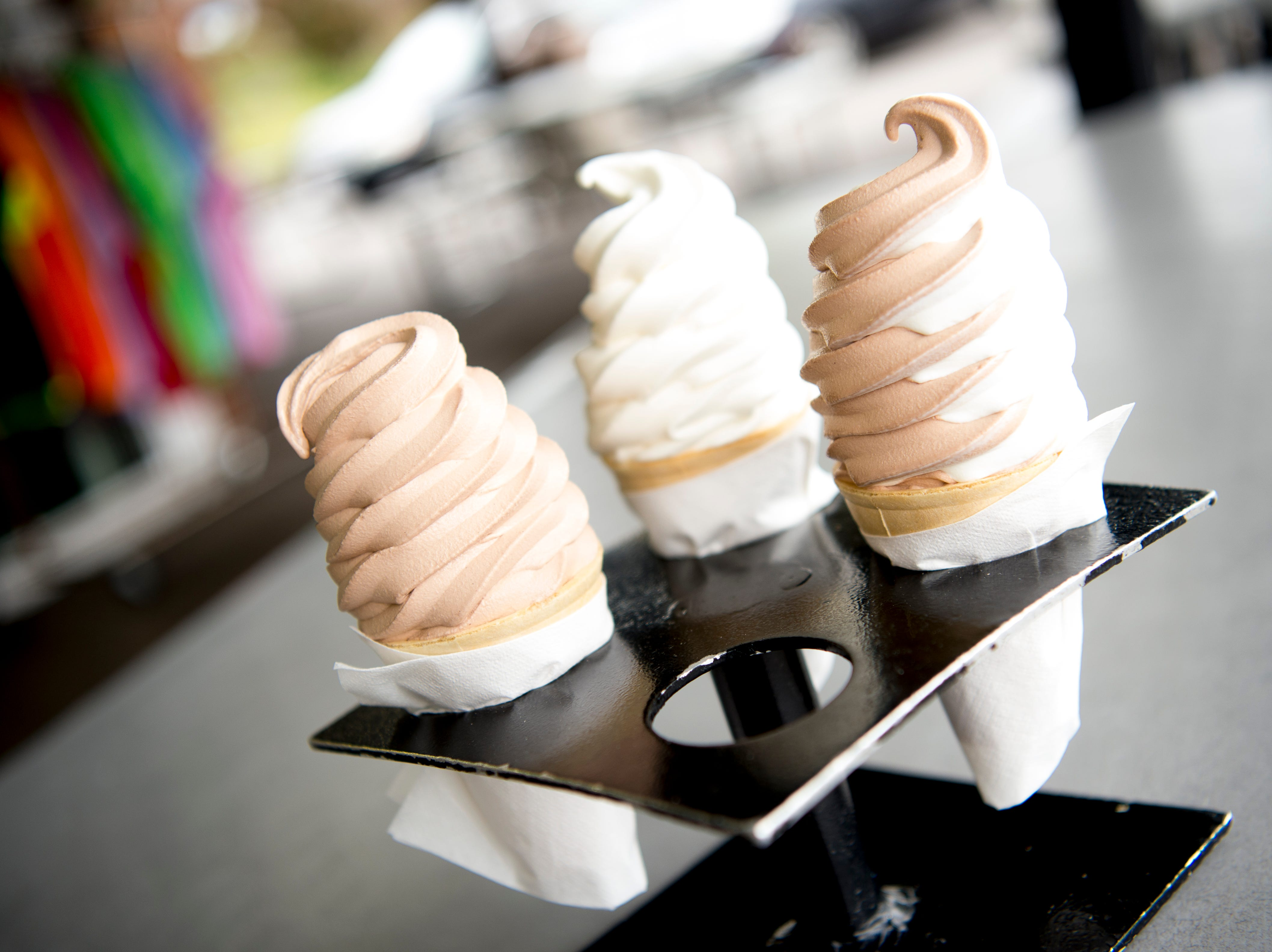 The chocolate, vanilla and chocolate-vanilla swirl cones offered at Cardin's Drive-In on Asheville Highway in Knoxville, Tennessee on Friday, April 5, 2019. The popular drive-in is celebrating 60 years of business this Saturday with sixty cent ice cream cones.