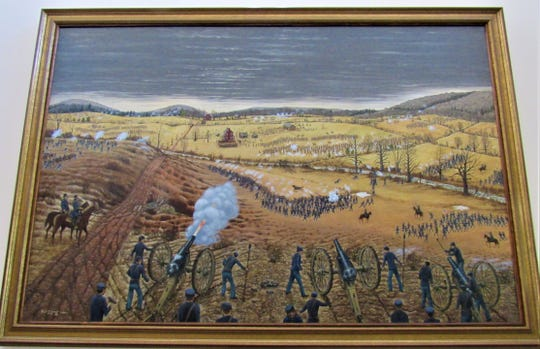 This painting of the Battle of Campbell Station is by Paul Long; it hangs in Town Hall and was gift from Brenda and Doug Horne.  Note the Campbell Station Inn is depicted at center left.