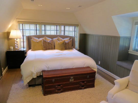 Bedroom above garage at Bluff Drive home in Sequoyah Hills.