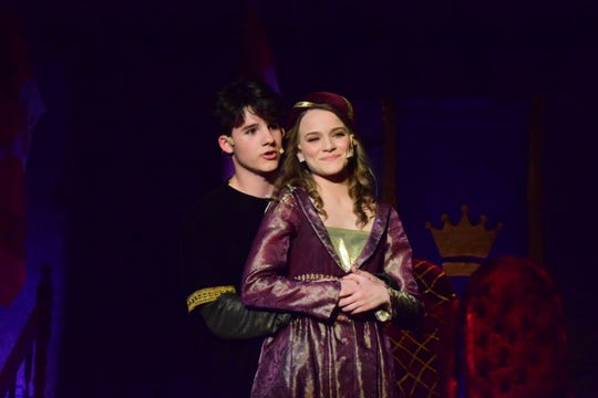 """Sir Harry (Sam Pinkston) and Lady Larken (Leah McGinnis) sing of their love for each other in Karns High School's musical production of """"Once Upon a Mattress"""" at the school Tuesday, April 2, 2019."""
