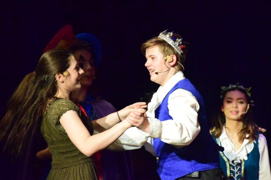 """Princess Winnifred (Madison Maples) wins over Prince Dauntless (Duncan Dillman) during a dance in Karns High School's musical production of """"Once Upon a Mattress."""" April 2019"""