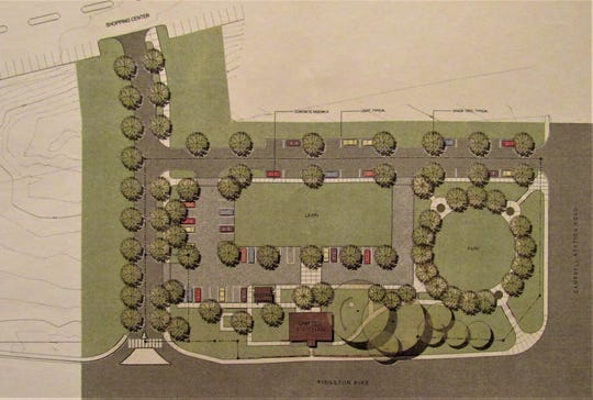 A diagram shows plans for the Campbell Station Inn plaza. A pocket park is on the right corner and a lawn that could be used for events is behind the inn.