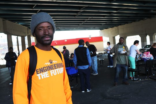 Santino Robinson, who is currently without a home in Knoxville, shares his views in the day space on North Broadway.