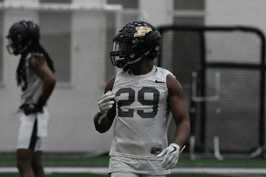 Purdue cornerback/safety Simeon Smiley at spring practice