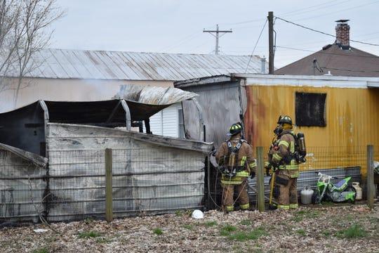Carport fire at 325 Eagle Avenue in Lancaster on April 5, 2019.