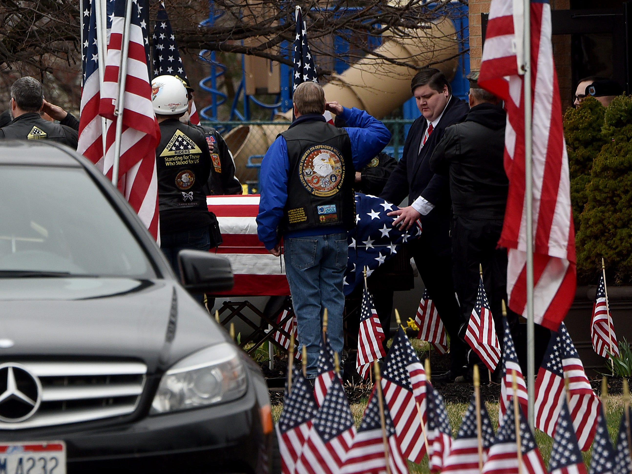 Pallbearers carry Sgt. Joseph Collette's casket after funeral services on Friday, April 5, 2019 at Faith Memorial Church in Lancaster. Collette was killed in action in Afghanistan last month.
