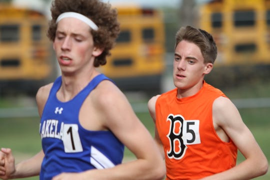 Brighton's Jack Spamer (5) qualified for the state meet in the 1,600 last year.